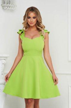 Dress StarShinerS green elegant short cut cloth with ruffle details thin fabric