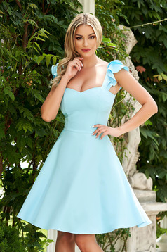 Dress StarShinerS lightblue elegant short cut cloth with ruffle details thin fabric