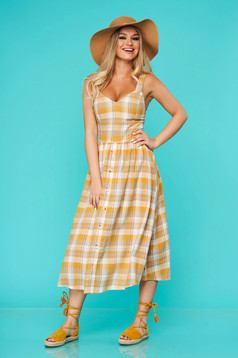 Yellow dress midi daily linen cloche with straps with chequers