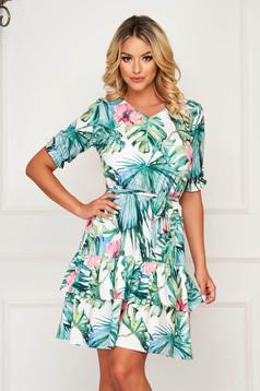 StarShinerS white dress short cut daily airy fabric cloche with elastic waist