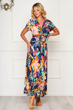 StarShinerS darkblue dress long daily cloche lycra short sleeves