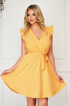 Mustard dress short cut daily elegant sleeveless thin fabric