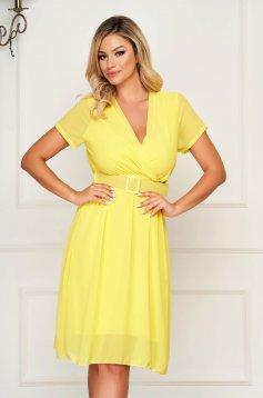 StarShinerS yellow dress midi daily from veil fabric cloche with elastic waist