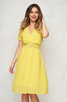 StarShinerS yellow dress midi daily from veil fabric cloche with elastic waist
