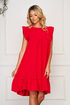 StarShinerS red dress midi daily flared thin fabric with ruffle details