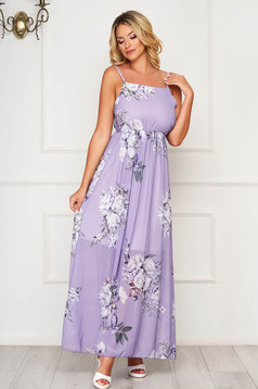 Lila dress long daily sleeveless thin fabric cloche with elastic waist