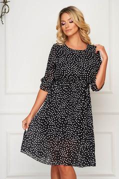 Black dress short cut daily from veil fabric cloche with elastic waist dots print
