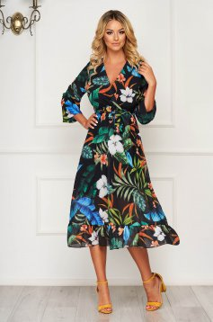 StarShinerS darkblue dress midi daily cloche with elastic waist with ruffle details thin fabric