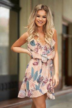 Rochie SunShine crem de zi din voal cu imprimeu floral cu decolteu in v cu elastic in talie