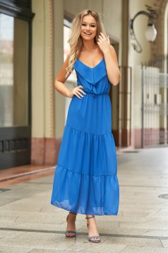 Blue dress long daily from veil fabric sleeveless with ruffles on the chest