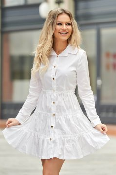 White dress casual short cut cotton long sleeved cloche with elastic waist
