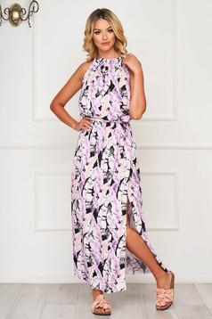 Lila dress long daily thin fabric sleeveless cloche with elastic waist