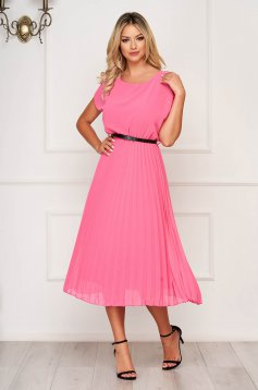 StarShinerS fuchsia dress midi elegant folded up airy fabric cloche with elastic waist