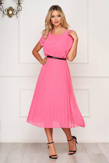 StarShinerS fuchsia dress midi elegant folded up airy fabric cloche with elastic waist
