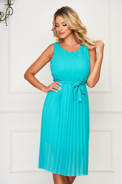 Turquoise dress midi daily cloche with elastic waist folded up sleeveless