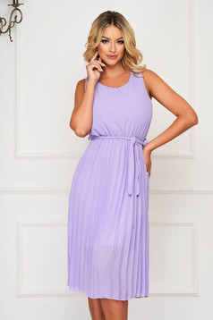 Purple dress midi daily cloche with elastic waist folded up sleeveless