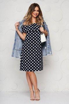 Darkblue dress short cut with easy cut thin fabric off-shoulder