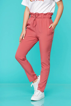 Pink trousers casual thin fabric with elastic waist with pockets