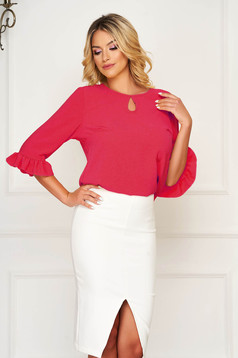 StarShinerS pink women`s blouse office from veil fabric flared with ruffle details