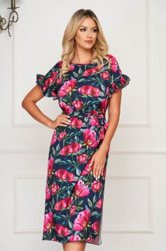 StarShinerS darkblue dress daily midi with ruffled sleeves straight accessorized with tied waistband
