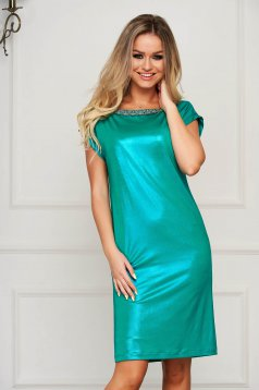 StarShinerS green dress elegant flared neckline with floral details