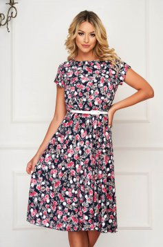 StarShinerS pink dress daily midi short sleeve thin fabric with floral print accessorized with belt