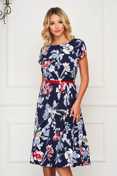 Rochie albastru-inchis midi de zi in clos cu elastic in talie si maneci scurte