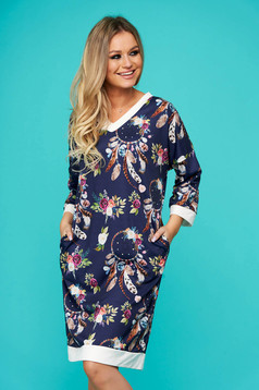 Darkblue dress midi daily straight with pockets long sleeved