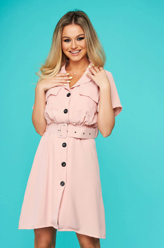 Lightpink dress short cut daily cloche with pockets thin fabric