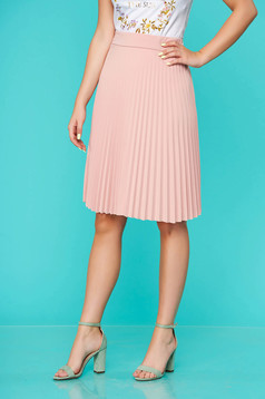 Peach skirt midi cloche from elastic fabric folded up