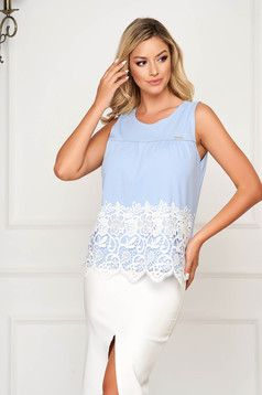 Blue top shirt office flared thin fabric with embroidery details