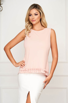 Top SunShine roz prafuit elegant cu croi larg asimetric din voal fara maneci cu volanase