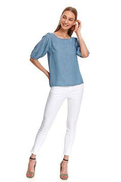 Bluza dama Top Secret albastra casual din denim cu croi larg si maneci trei-sferturi
