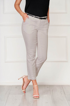 Cappuccino trousers office cotton conical with pockets