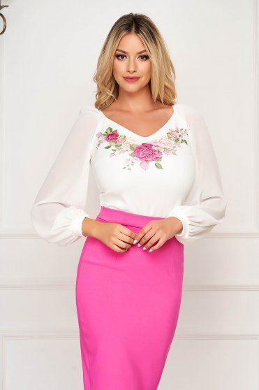 Women`s blouse elegant StarShinerS white flared thin fabric long sleeved