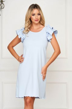 StarShinerS lightblue dress daily short cut flared with ruffled sleeves