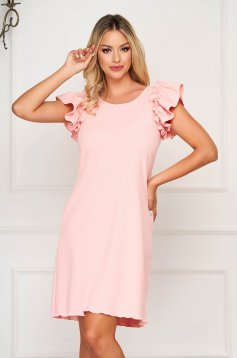 StarShinerS coral dress daily short cut flared with ruffled sleeves