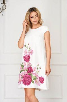 Dress StarShinerS lightpink elegant short cut cloth slightly elastic fabric with floral print