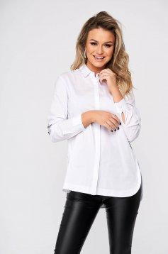White women`s shirt casual flared nonelastic cotton