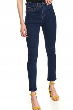 Blue trousers casual denim high waisted with pockets