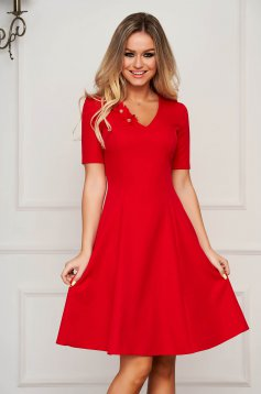 StarShinerS red dress elegant midi cloche with v-neckline slightly elastic fabric with floral details