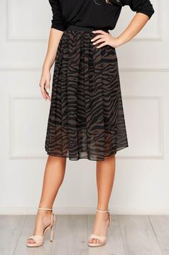 StarShinerS black skirt elegant midi cloche elastic waist from veil fabric