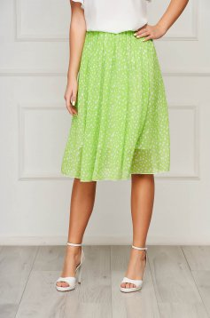 StarShinerS green skirt elegant midi cloche elastic waist from veil fabric