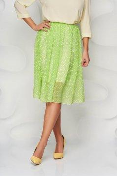 StarShinerS green skirt elegant midi cloche elastic waist from veil fabric