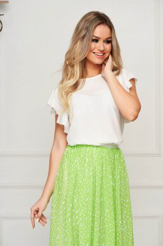 StarShinerS white women`s blouse elegant flared with ruffle details