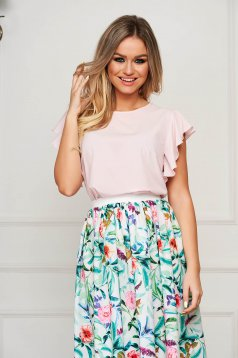 Bluza dama StarShinerS roz deschis eleganta cu croi larg cu volanase