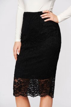 StarShinerS black skirt midi pencil high waisted elastic waist from laced fabric from elastic fabric