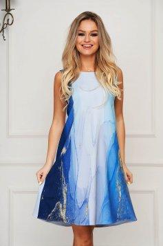 StarShinerS lightblue dress daily short cut flared slightly elastic fabric