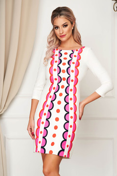 Dress StarShinerS white elegant short cut straight cloth with geometrical print