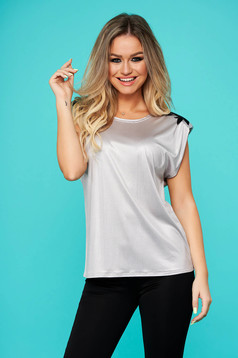 T-shirt StarShinerS grey casual flared lycra with lace details